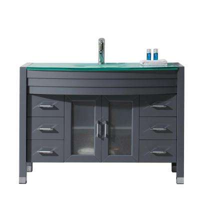 Ava 47 in. W Bath Vanity in Gray with Glass Vanity Top in Aqua Tempered Glass with Round Basin and Faucet