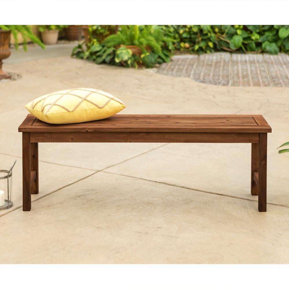 Walker Edison Furniture Company Boardwalk Dark Brown Acacia Wood Outdoor  Bench