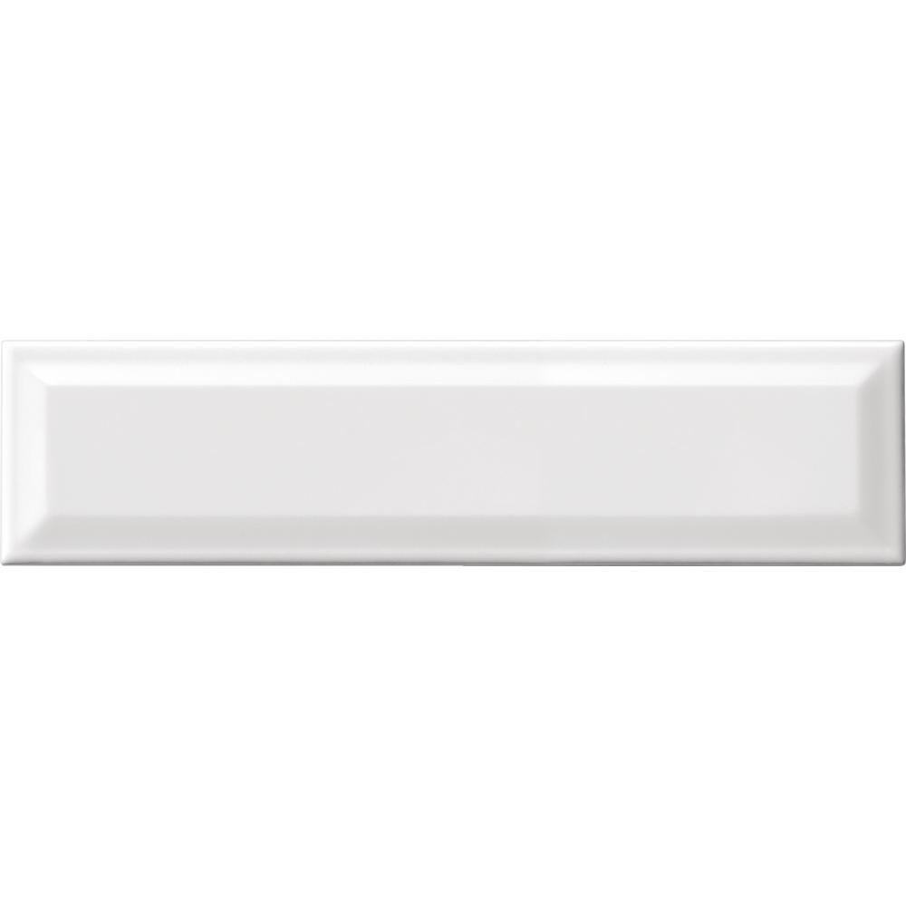 Finesse Bright White 4 in. x 16 in. Ceramic Sharp Bevel