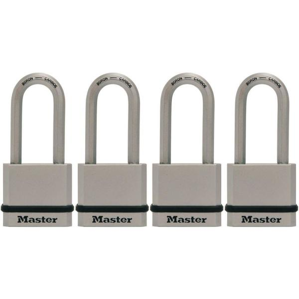 M530XQLH Magnum 1-3/4 in. Solid Steel Keyed Padlock with 2 in. Extra Long Shackle (4-Pack)