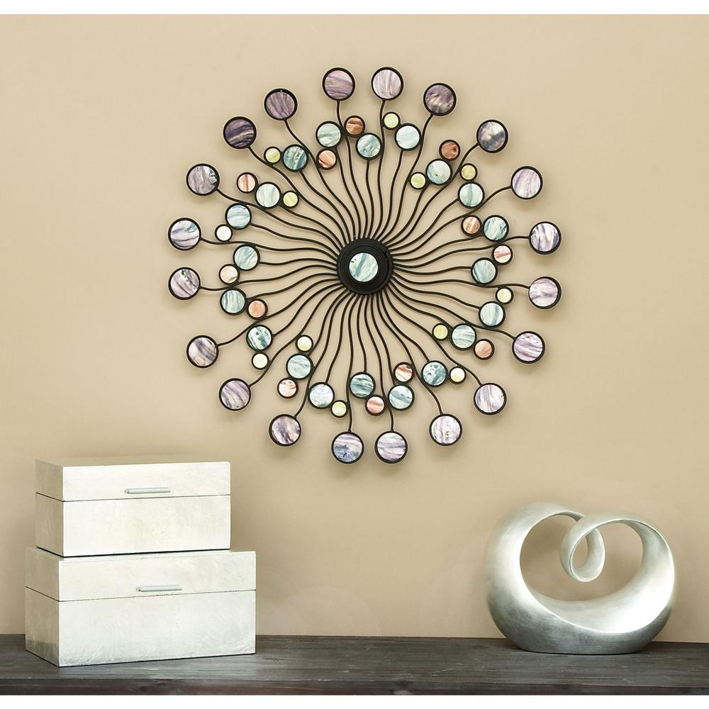 Radiating 27 in. Metal Wall Art with Colored Discs