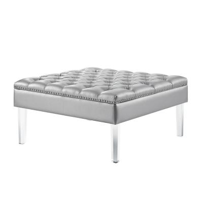 Peachy Silver Ottomans Living Room Furniture The Home Depot Caraccident5 Cool Chair Designs And Ideas Caraccident5Info