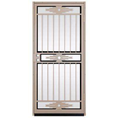 36 in. x 80 in. Pima Tan Surface Mount Outswing Steel Security Door with Shatter-Resistant Glass