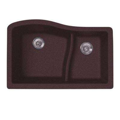 Undermount Granite 32 in. 0-Hole Large/Small Double Bowl Kitchen Sink in Espresso