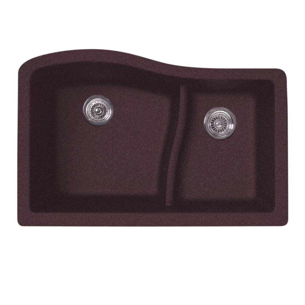 Undermount Granite 32 in. 0-Hole 60/40 Double Bowl Kitchen Sink in Espresso