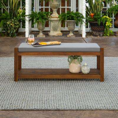Dark Brown Wood Outdoor Patio Bench with Gray Cushion