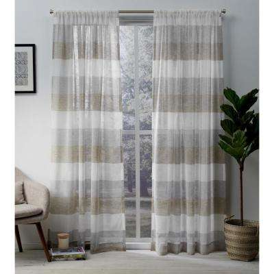 Bern Caf Stripe Sheer Rod Pocket Top Window Curtain