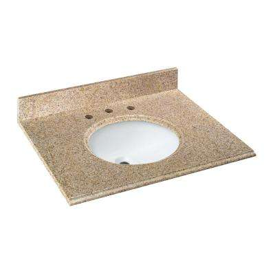 31 in. W Granite Vanity Top in Beige with White Bowl and 8 in. Faucet Spread
