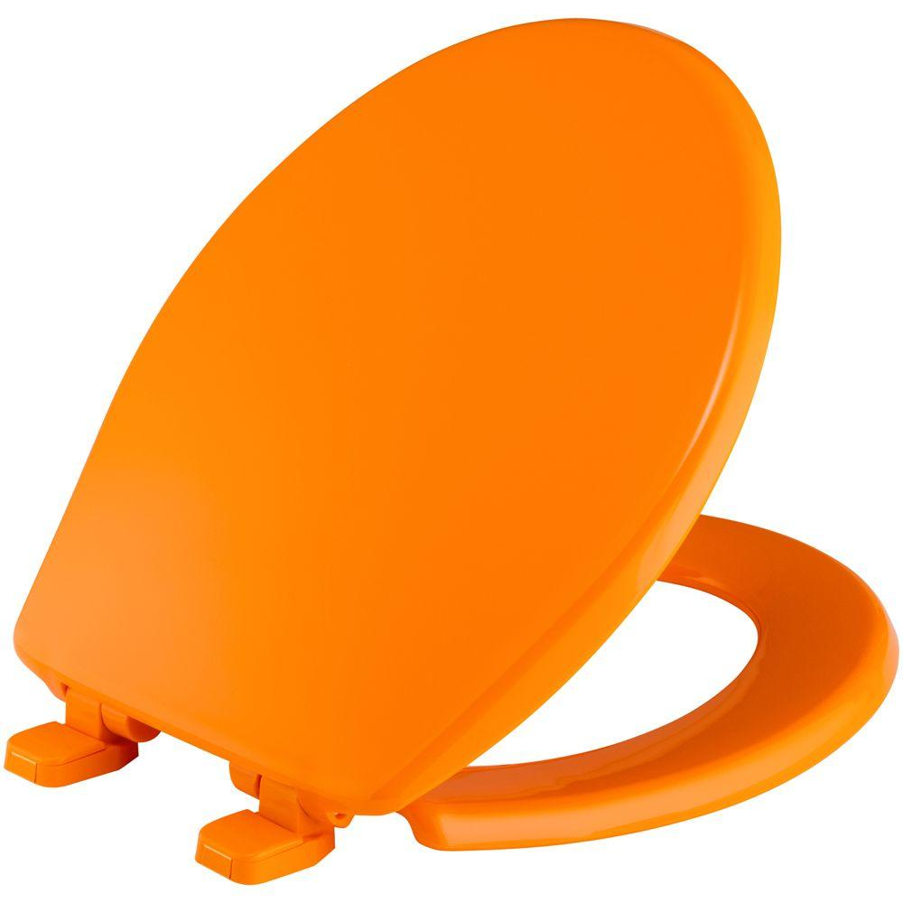 BEMIS Slow Close Round Closed Front Toilet Seat in Tangerine