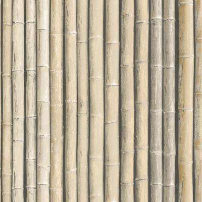 Shades of Brown Faux Bamboo Wallpaper