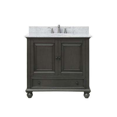 Thompson 37 in. W x 22 in. D x 35 in. H Vanity in Charcoal Glaze with Marble Vanity Top in Carrera White with Basin