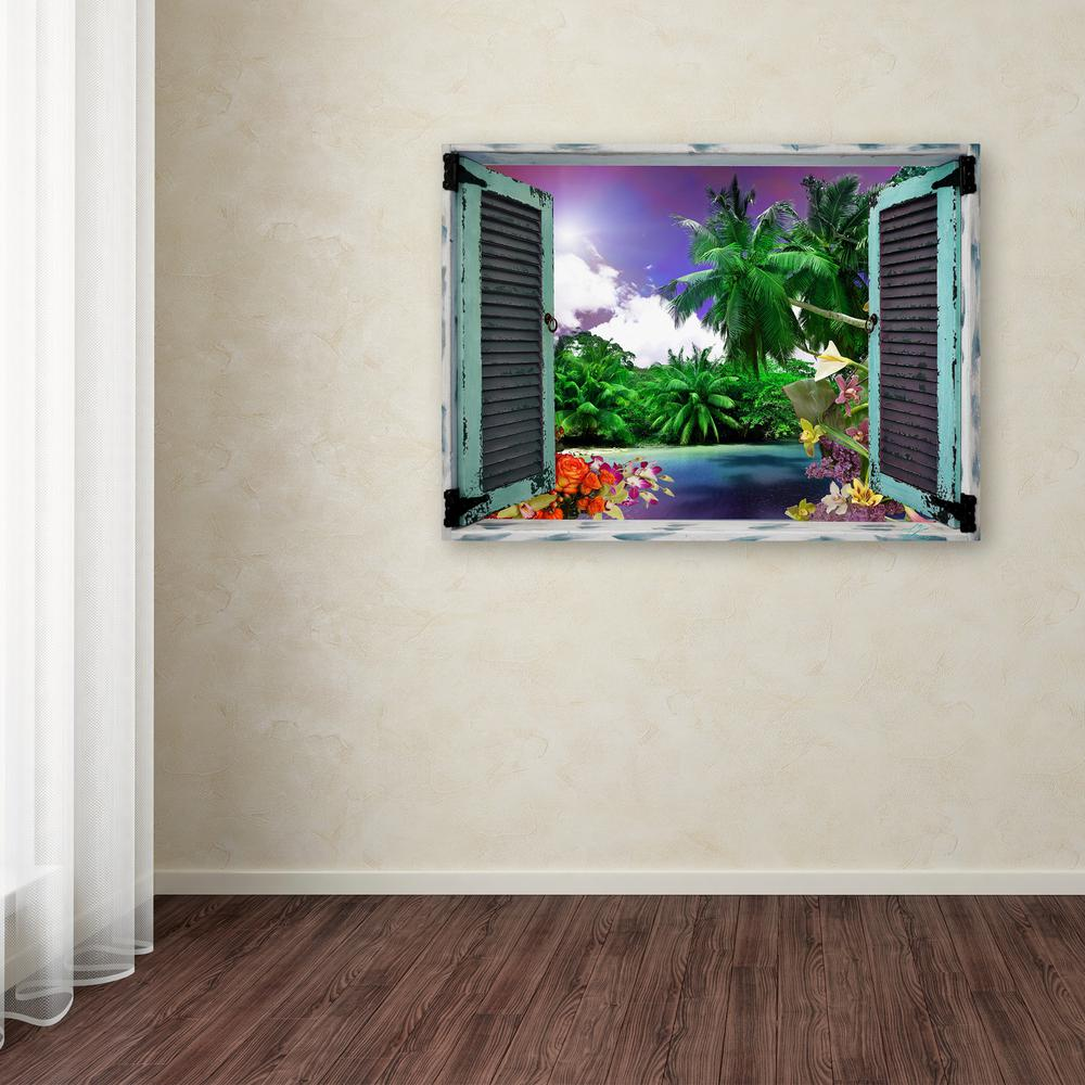 "35 in. x 47 in. ""Tropical Window to Paradise I"" by Leo Ke..."