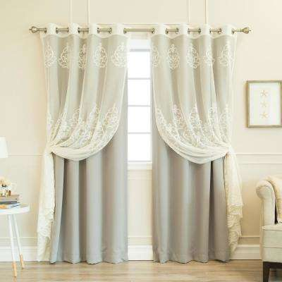 84 in. L uMIXm Sheer Agatha and Blackout Curtains in Dove (4-Pack)