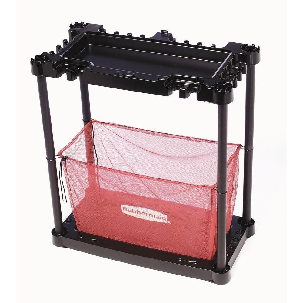 Rubbermaid 2-Shelf Plastic Sporting Goods Storage Rack in Black