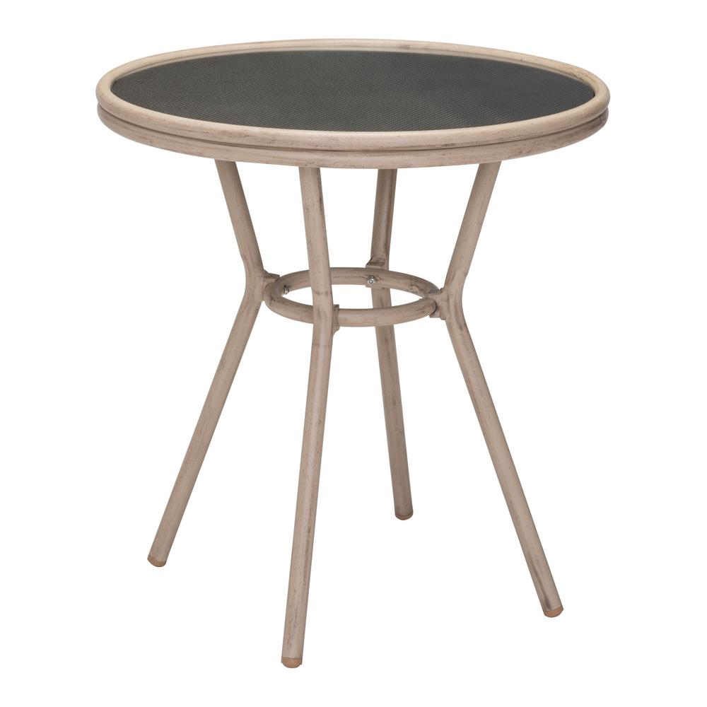 zuo mareilles metal outdoor patio bistro table in dark brown 703808 the home depot. Black Bedroom Furniture Sets. Home Design Ideas