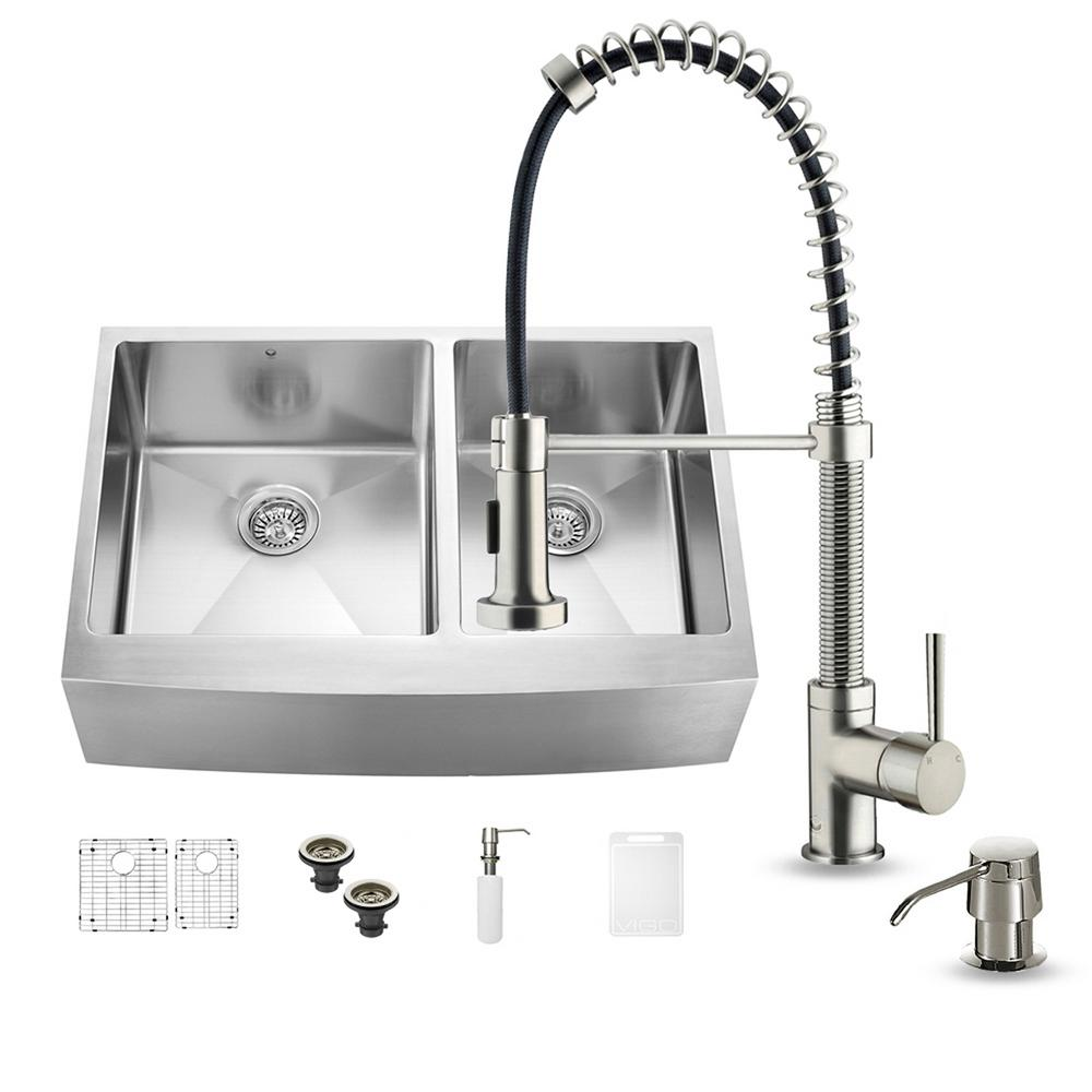Vigo all in one farmhouse apron front stainless steel 33 for Best kitchen faucet for double sink
