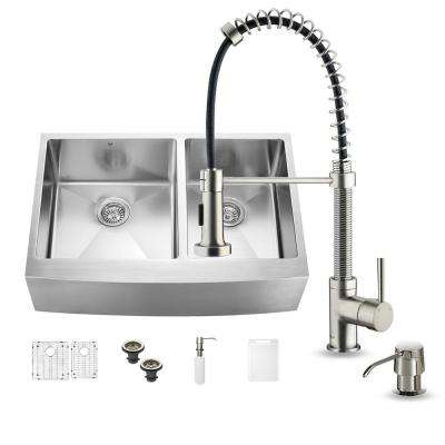 All-in-One Farmhouse Apron Front Stainless Steel 33 in. 0-Hole Double Bowl Kitchen Sink and Faucet Set