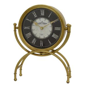 THREE HANDS 14.5 inch x 6 inch Metal Table Clock in Gold by THREE HANDS
