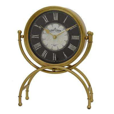 14.5 in. x 6 in. Metal Table Clock in Gold
