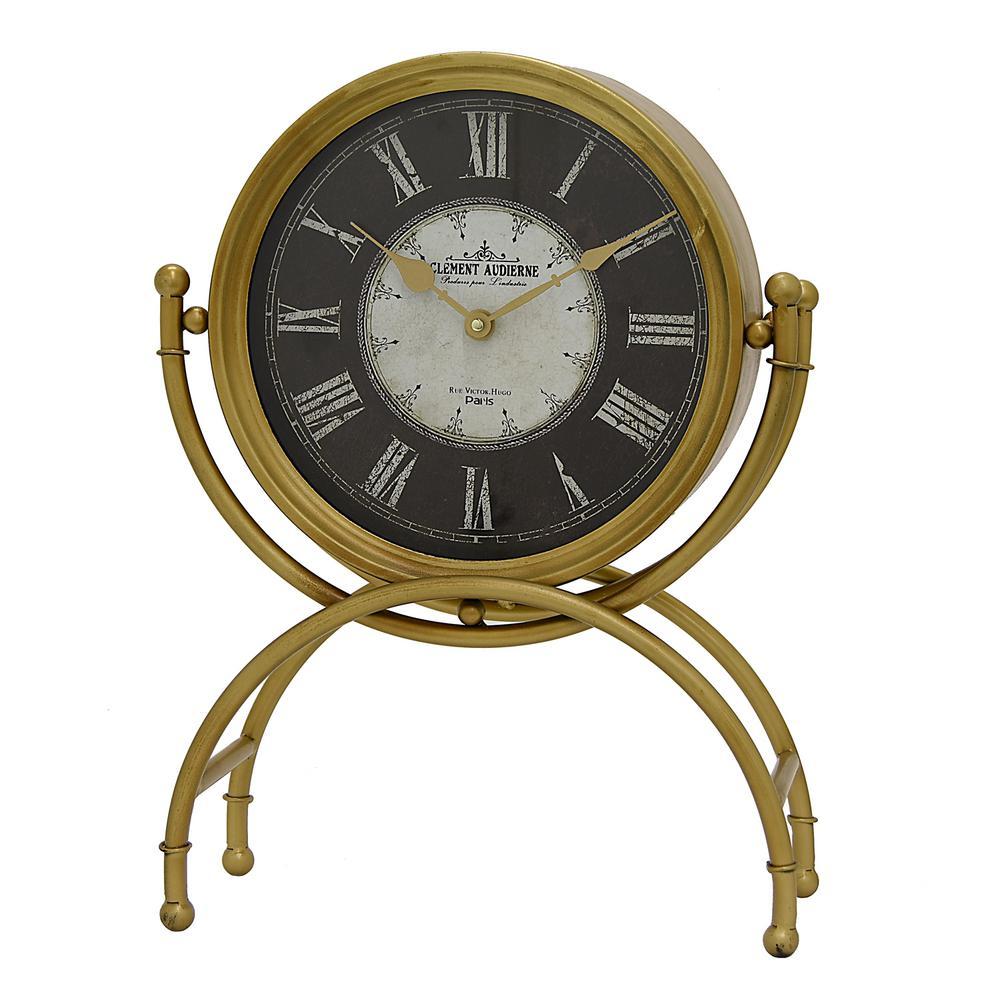Metal Table Clock In Gold