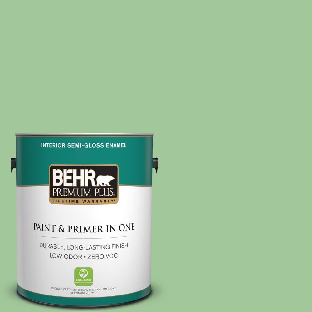 BEHR Premium Plus 1 gal. #M390-4 Gingko Semi-Gloss Enamel Zero VOC Interior Paint and Primer in One