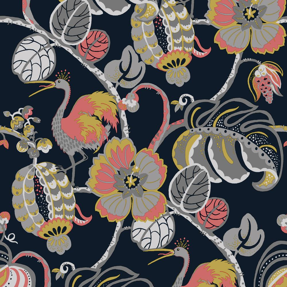 Tempaper Genevieve Gorder Tropical Fete Really Rouge Self Adhesive Removable Wallpaper