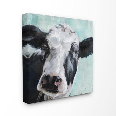 "30 in. x 30 in. ""Gentle Farm Cow Painting on Blue""by Artist Main Line Art & Design Canvas Wall Art"