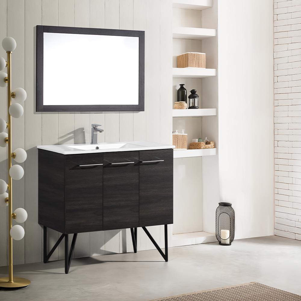 Annecy 36 in. Single, 2-Door, 1 Drawer Bathroom Vanity in Black with White Basin