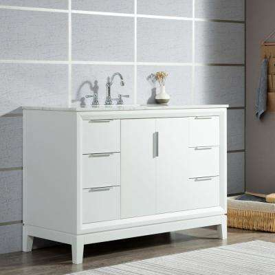 Elizabeth 48 in. Pure White With Carrara White Marble Vanity Top With Ceramics White Basins and Mirror and Faucet