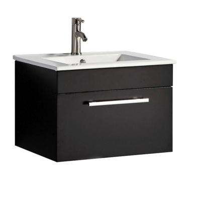 Nova 24 in. W x 18 in. D x 20 in. H Floating Bath Vanity in Espresso with Ceramic Vanity Top in White with White Basin