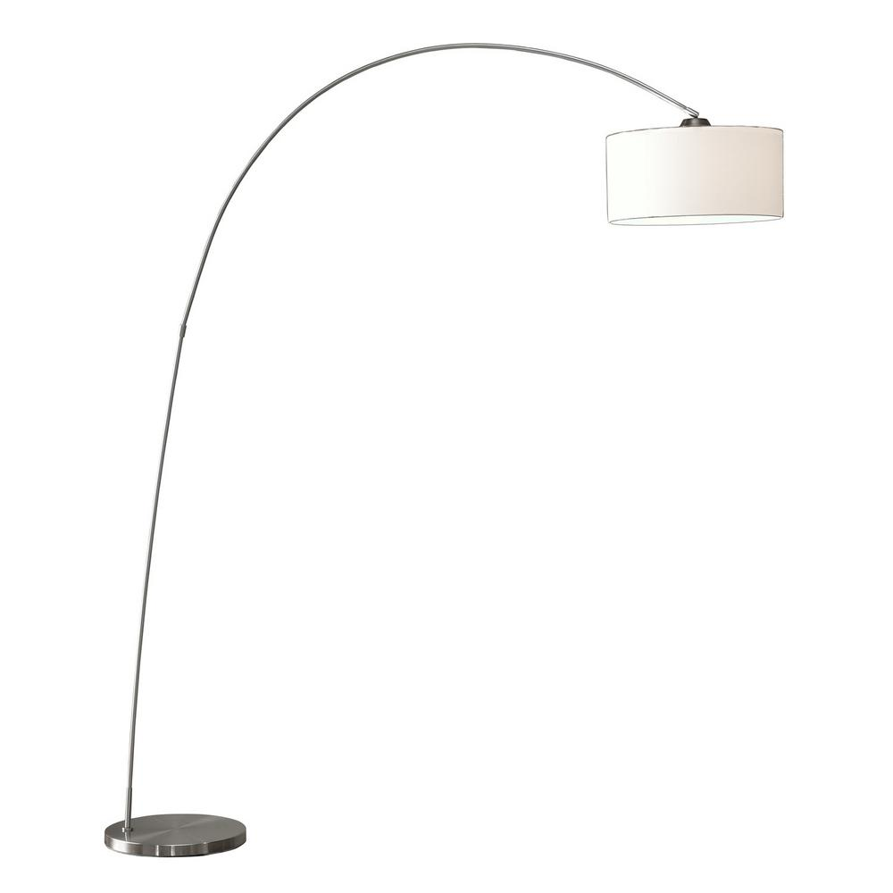 ARTIVA Adelina 81 in. Arched Brushed Steel Floor Lamp