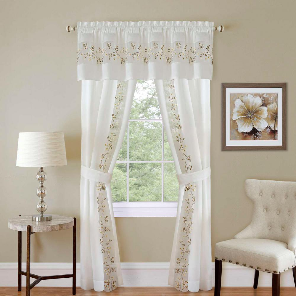 Achim Sheer Fairfield White Window Curtain Set