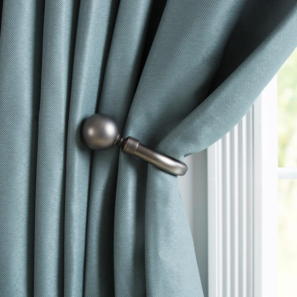Lavish Home Solid Sphere Holdback Pair in Pewter