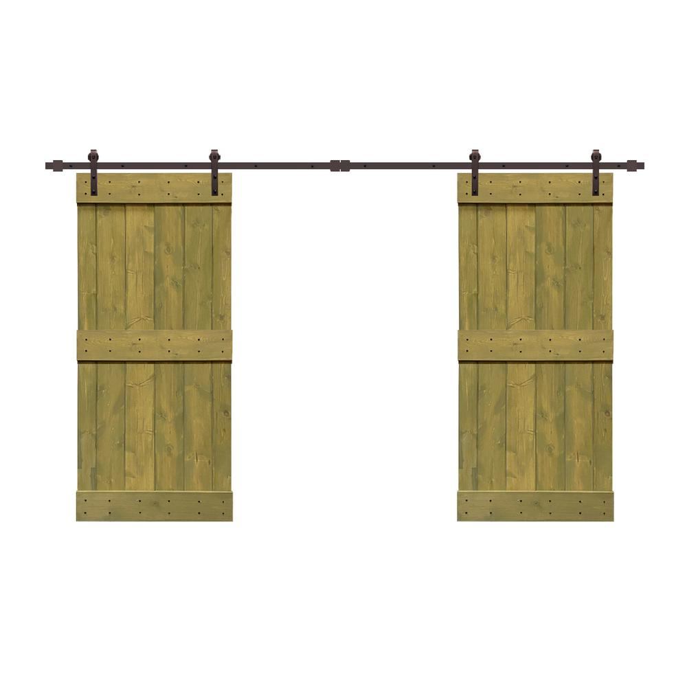 Calhome 72 In X 84 In Mid Bar Series Jungle Green Stained Solid Pine Wood Interior Double Sliding Barn Door With Hardware Kit Swd11 Ab 79 2 Dr Diy 03 36dg 2 Cnnt Ab The Home Depot