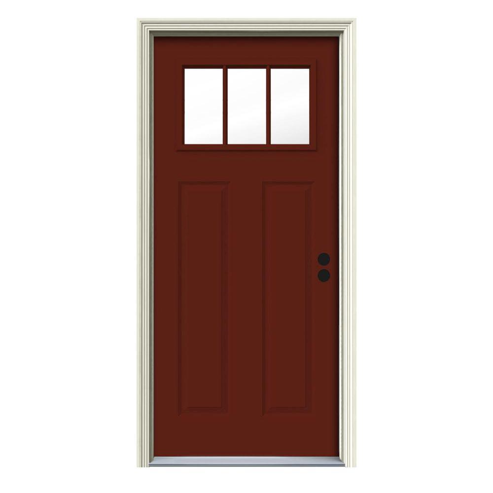 30 in. x 80 in. 3 Lite Craftsman Mesa Red Painted Steel Prehung Left-Hand Inswing Front Door w/Brickmould