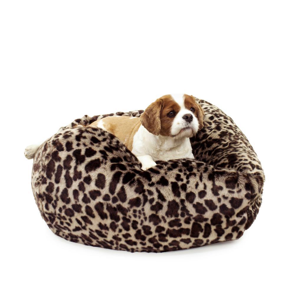 Large Leopard Faux Fur Puff Ball