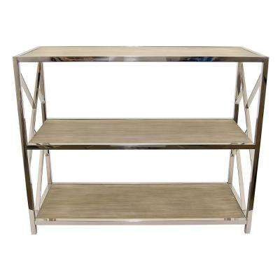 39.5 in. x15.75x31.5 in. Silver Metal and Natural Wood 3-Tier Shelf