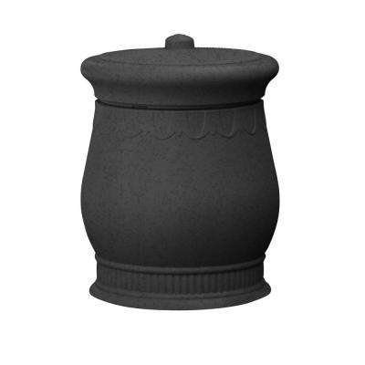 Savannah 23 in. x 23 in. x 32 in. Polyethylene Urn Waste and Storage Bin in Dark Granite
