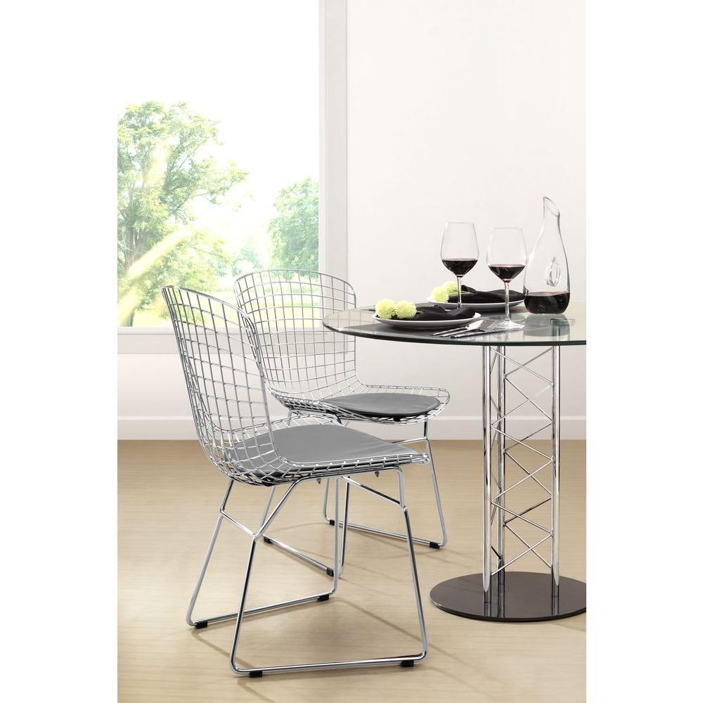 Genial ZUO Chrome Steel Wire Chair (Set Of 2)