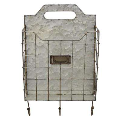 9.75 in. x 4.25 in. x 16 in. Storage Wall Rack Galvanize in Gray