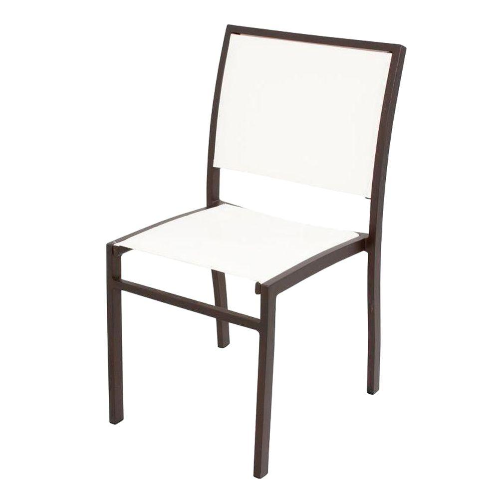 Polywood Bayline Textured Bronze White Sling Patio Dining Side Chair