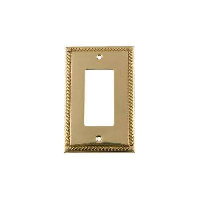 Rope Switch Plate with Single Rocker in Unlacquered Brass
