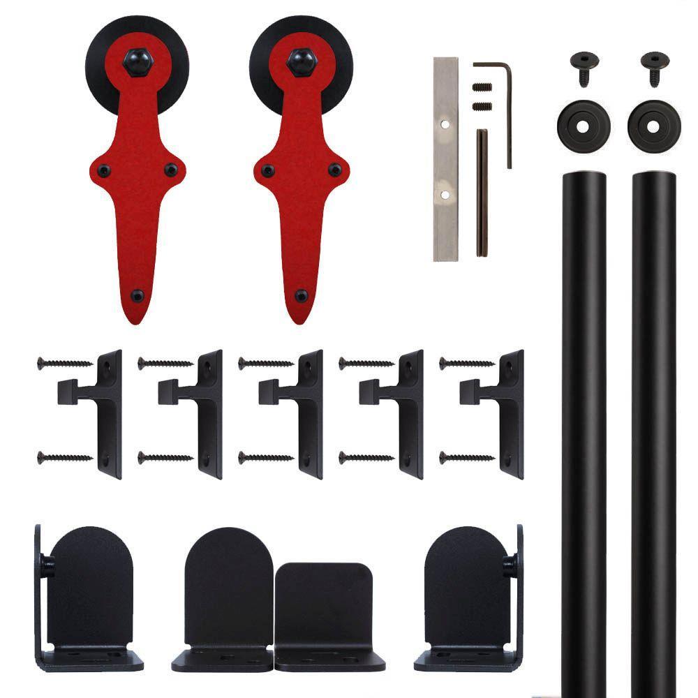 Wright Barn Red Rolling Door Hardware Kit for 3/4 in. to 1-1/2 in. Door