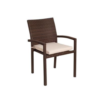 Liberty Brown Patio Dining Armchair Set with Off-White Cushions (4-Piece)