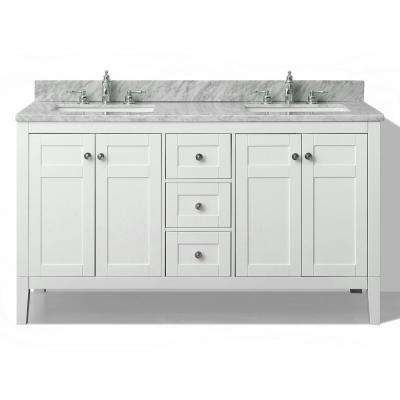 Maili 60 in. W x 22 in. D Vanity in White with Marble Vanity Top in Carrera White with White Basins