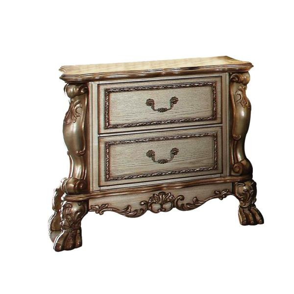 Amelia 2-Drawer 20 in. x 32 in. x 31 in. Gold Patina Bone Wood Poly Resin Nightstand