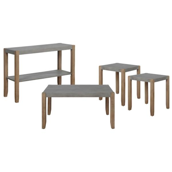 Alaterre Furniture 4 Piece 40 In Gray Light Amber Medium Rectangle Wood Coffee Table Set With Shelf Annp011131471 The Home Depot