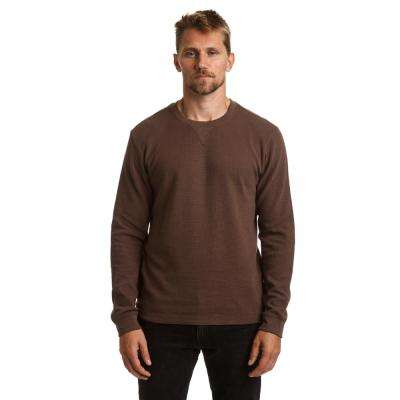 Men's Large Chocolate Long Sleeve Thermal Crew Neck