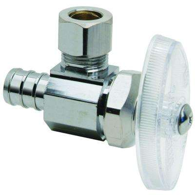 1/2 in. Nominal Crimp PEX Barb Inlet x 3/8 in. O.D. Compression Outlet Brass Multi-Turn Angle Valve (5-Pack)