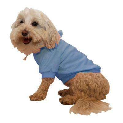 Medium Teal Blue French Terry Pet Dog Hoodie Hooded Sweater